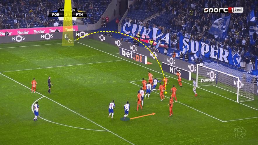 Bola parada ofensiva do FC Porto como arma para ferir o adversário.
